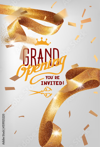 Grand opening invitation card with sparkling curly elegant ribbon grand opening invitation card with sparkling curly elegant ribbon vector illustration stopboris Image collections