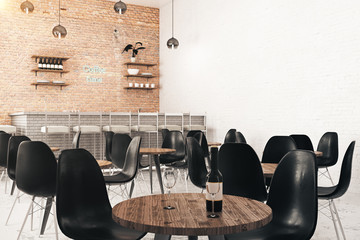 Cafe with wine and empty wall