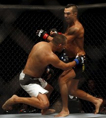 Belfort of Brazil fights against Henderson of the U.S. during the UFC Fight Night at Ibirapuera Gymnasium, in Sao Paulo