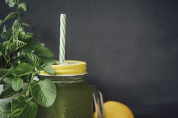 Mint drink in a jar