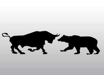 Vector black silhouette bull and bear financial icons depicting the market trends