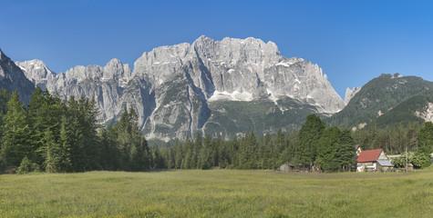Panoramic view of Jof di Montasio mountain in Julian Alps, Italy