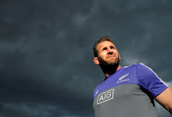 The New Zealand All Blacks rugby team captain Kieran Read walks under cloudy skies during a team training session in Sydney