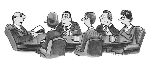 Business cartoon illustration of six people in a meeting.