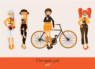 Hipster cute girls isolated on background. Vector fashion illustration set with various accessories, hairstyle, with smiling faces in casual clothes. Girl in hat, girl with bicycle, girl with coffee