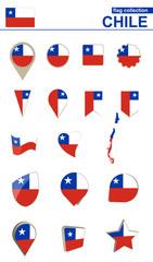 Chile Flag Collection. Big set for design.