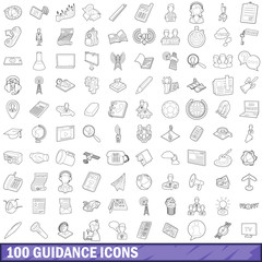 100 guidance icons set, outline style
