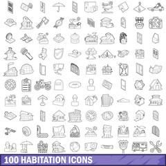 100 habitation icons set, outline style