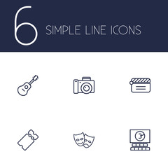 Set Of 6 Amusement Outline Icons Set.Collection Of Ticket, Guitar, Masks And Other Elements.