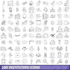 100 institution icons set, outline style