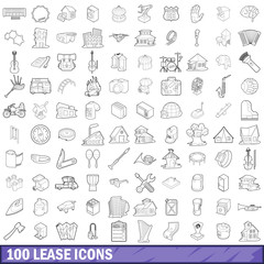100 lease icons set, outline style