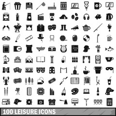 100 leisure icons set, simple style
