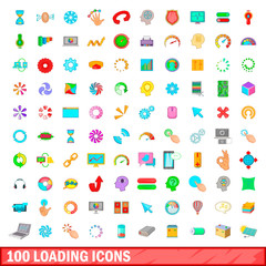 100 loading icons set, cartoon style