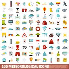 100 meteorological icons set, flat style