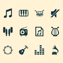 Music Icons Set. Collection Of File, Barrel, Lyre And Other Elements. Also Includes Symbols Such As Controlling, Gramophone, Music.