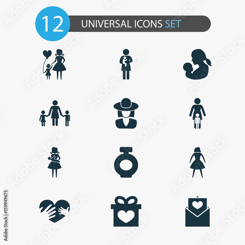 Mothers Day Icon Design Concept Set Of 12 Such Elements As Letter