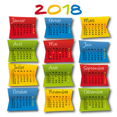 calendrier 2018 - original - planning - agenda - post it - coloré - artistique - année,