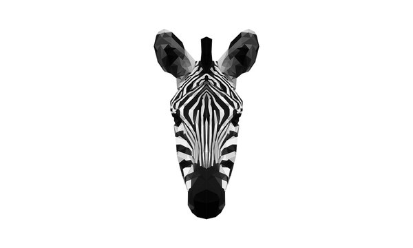 Polygon abstract art of a zebra