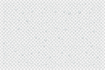 Vector set of realistic isolated water droplets on the transparent background.