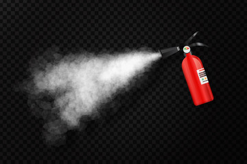 Vector realistic isolated extinguisher with foam for decoration on the transparent background. Concept of firefighting, protection and fire prevention.