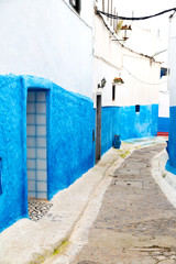 old door in morocco africa ancien and wall ornate   blue street