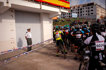 Mountain bikers wait for the start of the cycling category in the XIX 101km international competition in Ronda