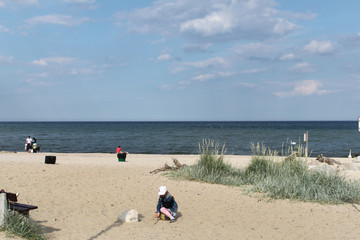 Beautiful and wide beach in Tri-city. Poland.