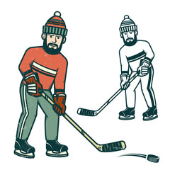 Casual hockey player with beard. Retro vector illustration. Worn texture on a separate layer and can be easily disabled.
