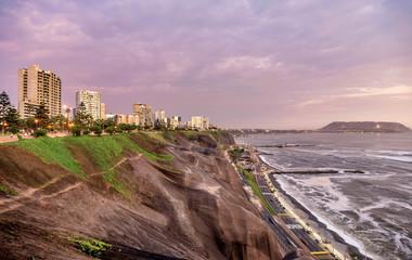 The Pacific coast of Miraflores in Lima, Peru