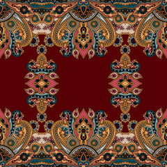 Seamless abstract geometric paisley pattern. Traditional oriental ethnic ornament, on berry red background. Textile design.