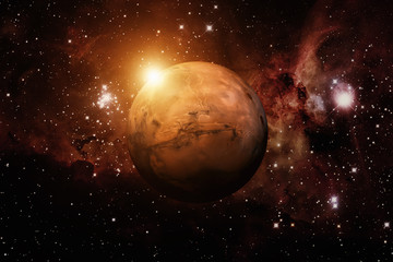 Planet Mars. Nebula on the background. Elements of this image furnished by NASA.