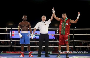 Mohammed Rabii of Morocco Atlas Lions celebrates his victory against Muhammad Ali of British Lions Hearts during their WSB boxing flyweight title bout in Casablanca