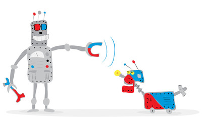 Intelligent remote control/ Vector illustration with cheerful robot in glasses, trains his dog with a magnet