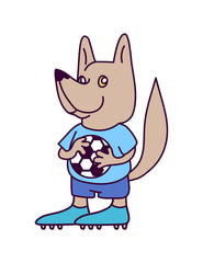Wolf soccer goalkeeper character wearing shirt, shorts and boots. Smiling dog football player in blue soccer uniform holding a football in paws. Association football team logo. Sport game mascot.