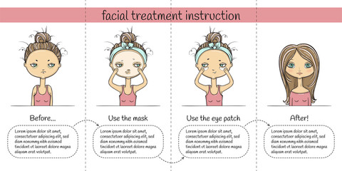 Facial treatment four steps instruction, girl