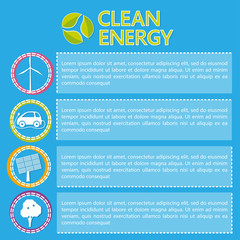 Vector template about clean energy with different items and place for text