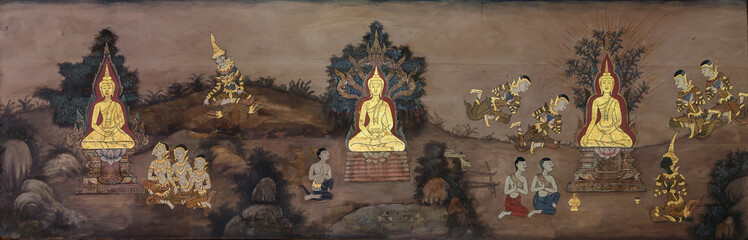 Nakhonratchasima,THAILAND October 2:Mural of History of Buddhism on wall in temple.on 2 October 2016 in Nakhonratchasima,Thailand