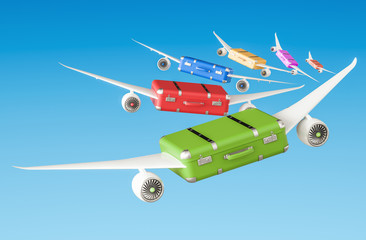 Travel concept, Suitcases with wings flying in the sky. 3D rendering
