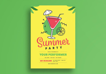 Yellow and Green Summer Party Flyer Layout