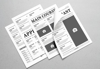 Black and White Newspaper Style Menu Layout