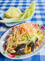 Spicy papaya salad with salted crab