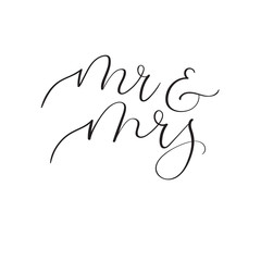 Mr and Mrs hand lettering wedding design. Modern calligraphy
