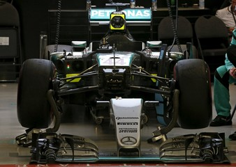 The car of Mercedes Formula One driver Lewis Hamilton of Britain is seen after he retired from the Singapore F1 Grand Prix night race in Singapore