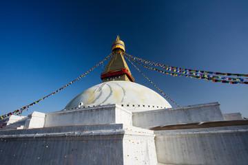 Boundhanath stupa eyes, Kathmandu, Nepal.
