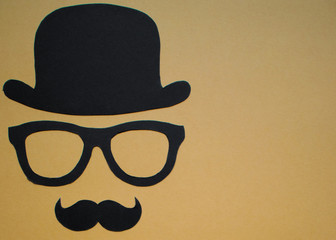 Father's Day background - Man face cut out, black on gold