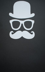 Father's Day background - Man face cut out, grey on black