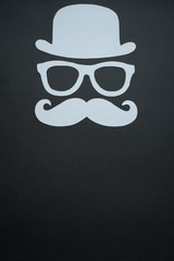 Father's Day background - Man face cut out, silver on black