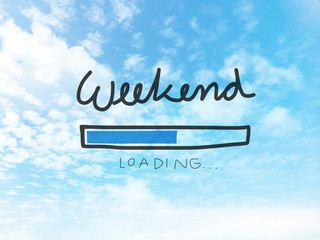 Weekend loading bar on blue sky