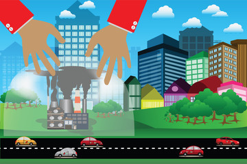 Environmental concept,Protect nature from air pollution by glasses dome with big hands - Vector