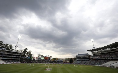 Clouds gather during the third cricket test match between England and South Africa in Johannesburg